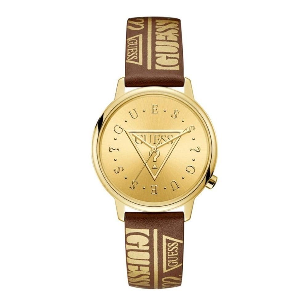 Dámske hodinky s hnedým remienkom z pravej kože Guess V1008M2