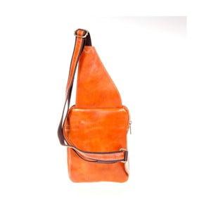 Koňakovohnedý kožený batoh cez rameno Italia in Pogress Martino