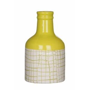 Žlto-biela keramická váza Mica Fabio, 17x9,5 cm