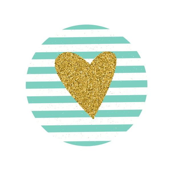 Sada 2 odkladacích stolíkov Gold Heart, 35 cm + 49 cm