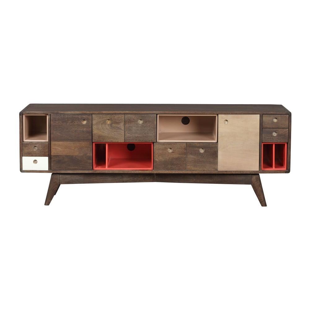 TV komoda z masívneho mangového dreva Woodjam Play Dark, 155 cm
