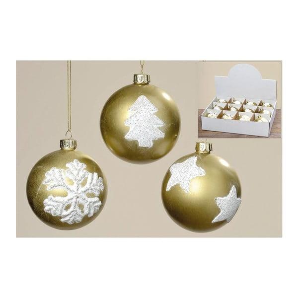 Sada 12 ks vianočných gulí Winter Gold
