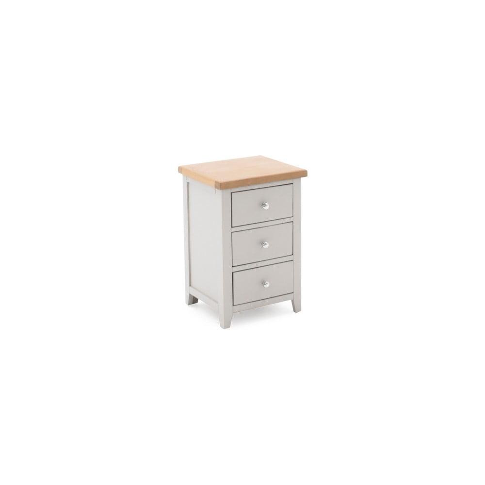 Nočný drevený stolík s 3 zásuvkami VIDA Living Ferndale