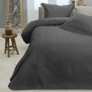 Tmavý pléd cez posteľ s dvomi obliečkami na vankúš Dreamhouse Wave, 260 x 250 cm