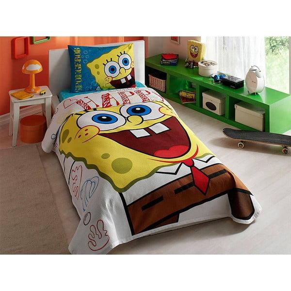 Prikrývka s vankúšom a plachtou Spongebob, 160x230 cm