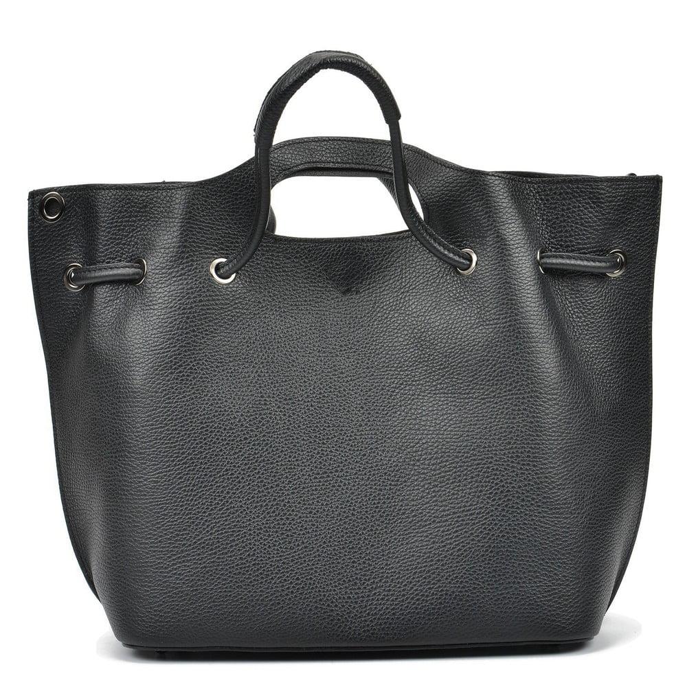 Čierna kožená kabelka Mangotti Bags Angela