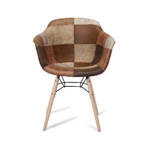 Hnedá jedálenská stolička s nohami z bukového dreva Furnhouse Flame Patch