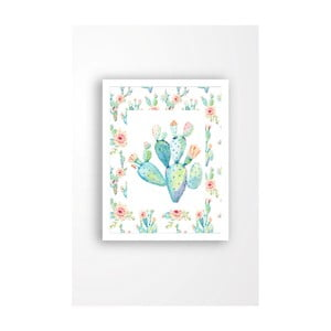 Nástenný obraz na plátne v bielom ráme Tablo Center Cactus, 29 × 24 cm