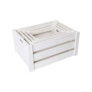 Sada 4 bielych drevených debničiek Legler Smooth