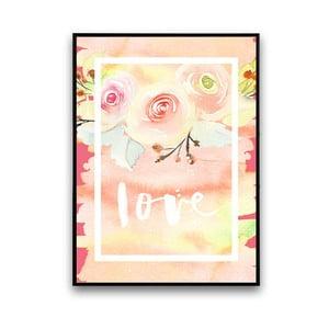 Plagát s kvetmi Love, 30 x 40 cm