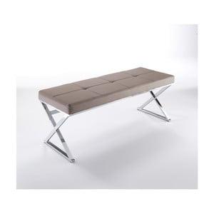 Béžová chrómovaná lavica Tomasucci