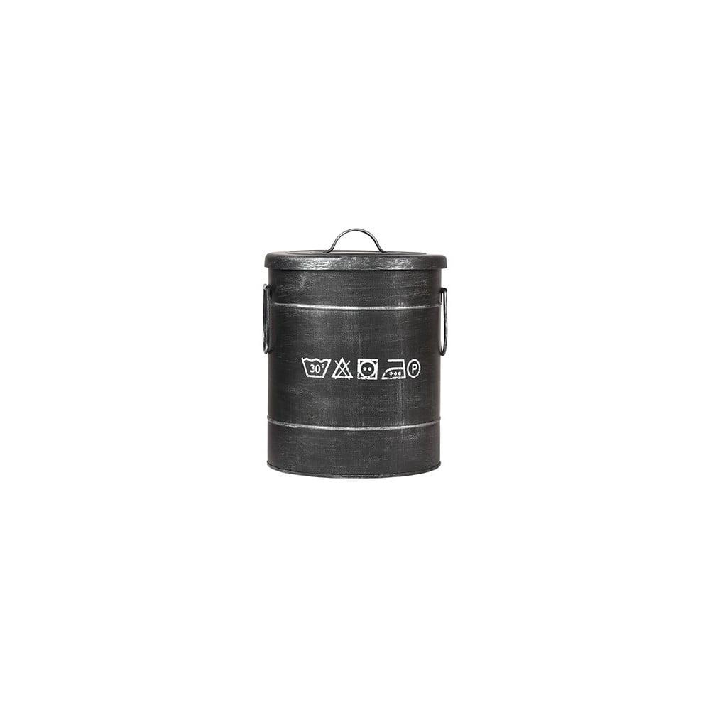Čierny kovový kôš na špinavé prádlo LABEL51, ⌀ 26 cm