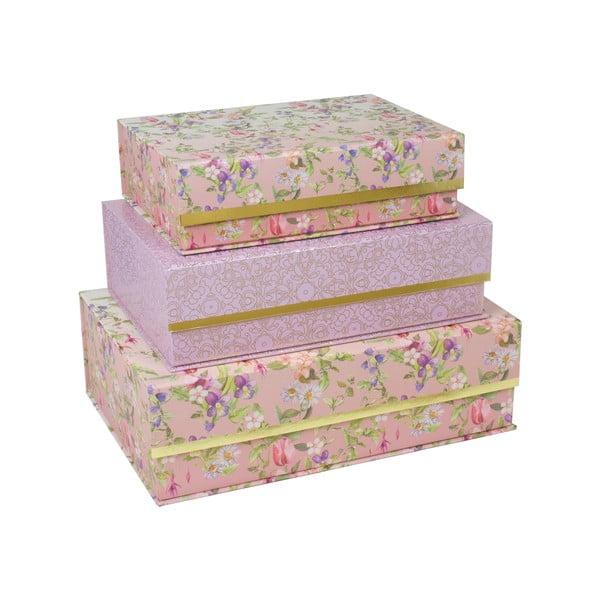 Sada 3 boxov so zlatým prúžkom Charming Garden