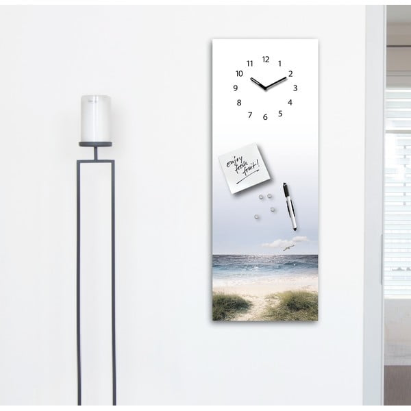 Magnetická tabuľa s hodinami Eurographics Maverick, 30 x 80 cm