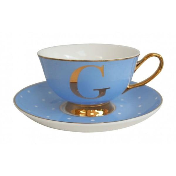 Modrý hrnček s tanierikom s písmenom G Bombay Duck