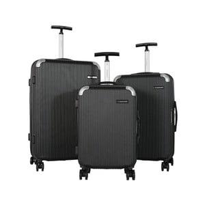 Sada 3 čiernych cestovných kufrov na kolieskach Travel World