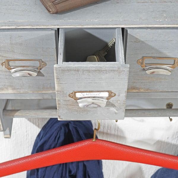 Sivý nástenný stojan s háčikmi a zásuvkami Shabby