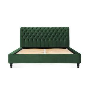 Zelená posteľ z bukového dreva s čiernymi nohami Vivonita Allon, 160 × 200 cm