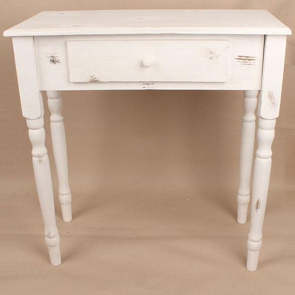 Drevený stôl so zásuvkou White Days, 74x78 cm