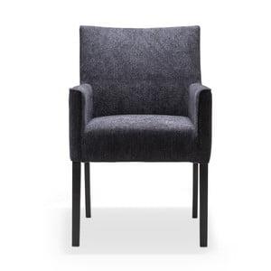 Čierna jedálenská stolička s područkami a nohami z dubového dreva Jakobsen home Ella