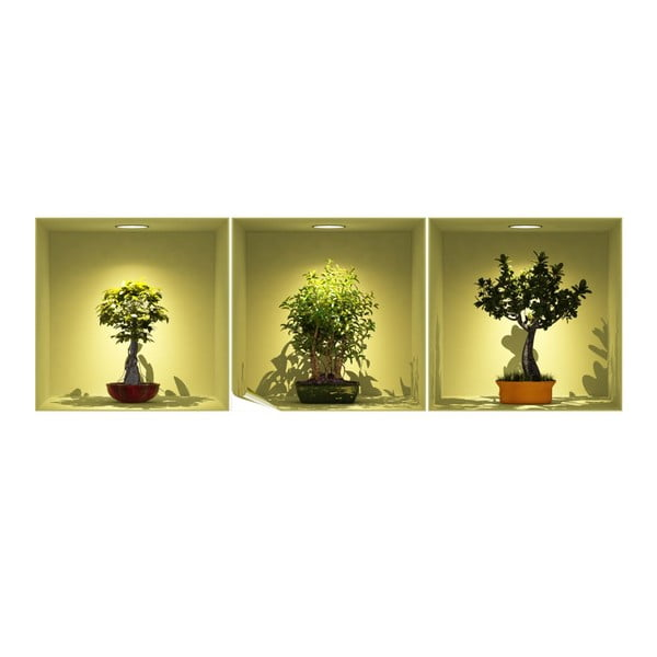 Sada 3 samolepiek s 3D efektom Fanastick Bonsai Trees On Spot
