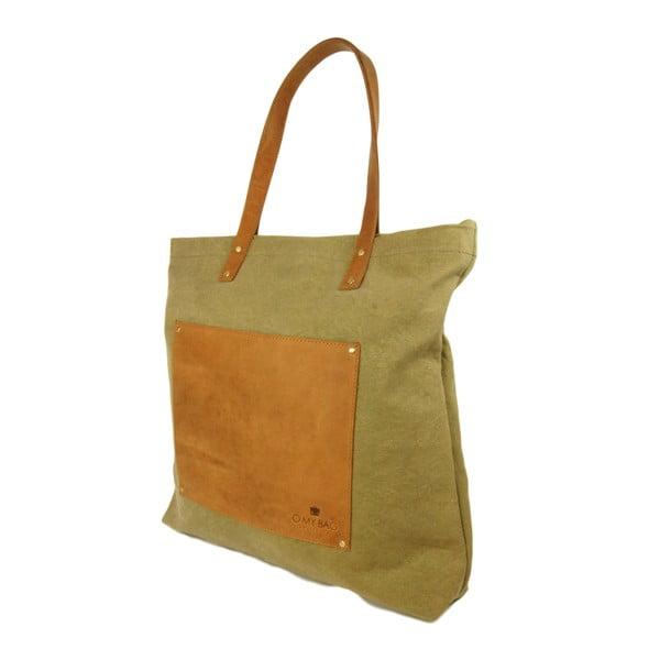 Kožená vintage maxi taška O My Bag Lou's, zelená