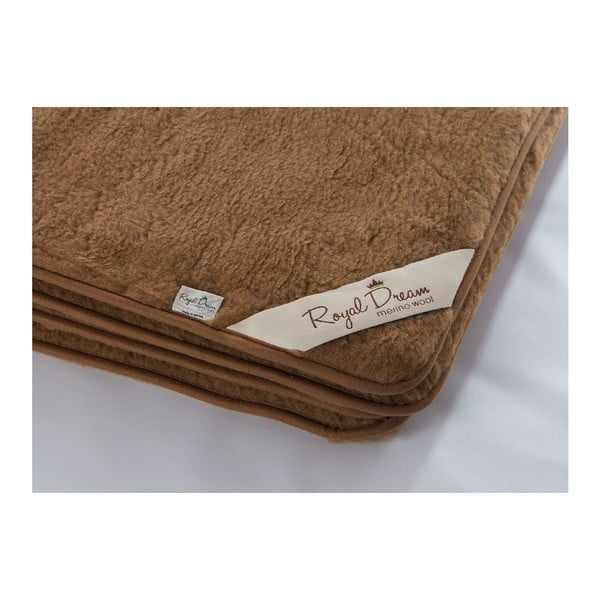 Tmavohnedá vlnená deka Royal Dream Merino, 160x200cm