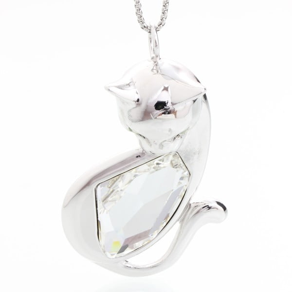 Náhrdelník so Swarovski Elements, biela kočka