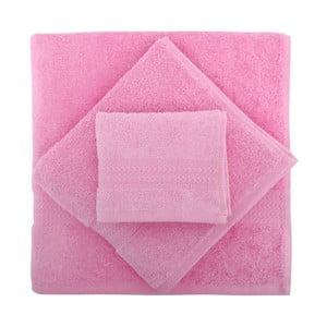Set 3 ružových uterákov a osušky Rainbow