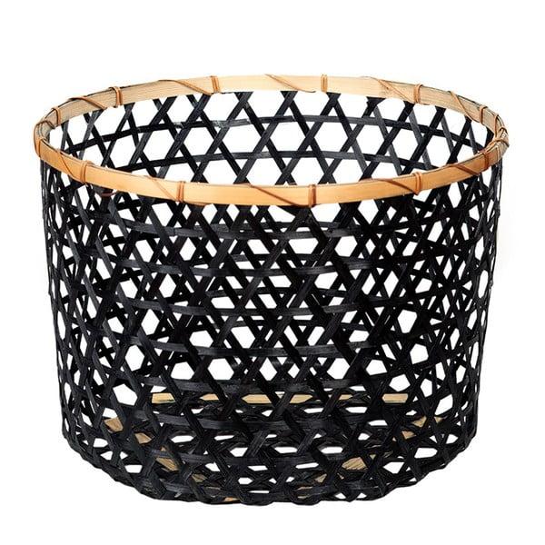 Čierny bambusový košík a'miou home Shadows, ⌀ 44 cm