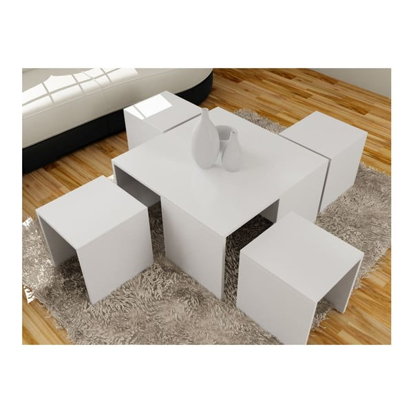 Konferenčný stolík so 4 stoličkami Ortanca White