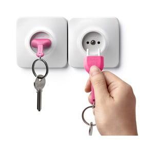Biely vešiak na kľúče s ružovou kľúčenkou Qualy Unplug