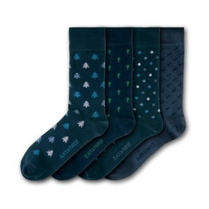 Sada 4 párov unisex ponožiek Black&Parker London Isles of Sicily, veľkosť 37 - 43