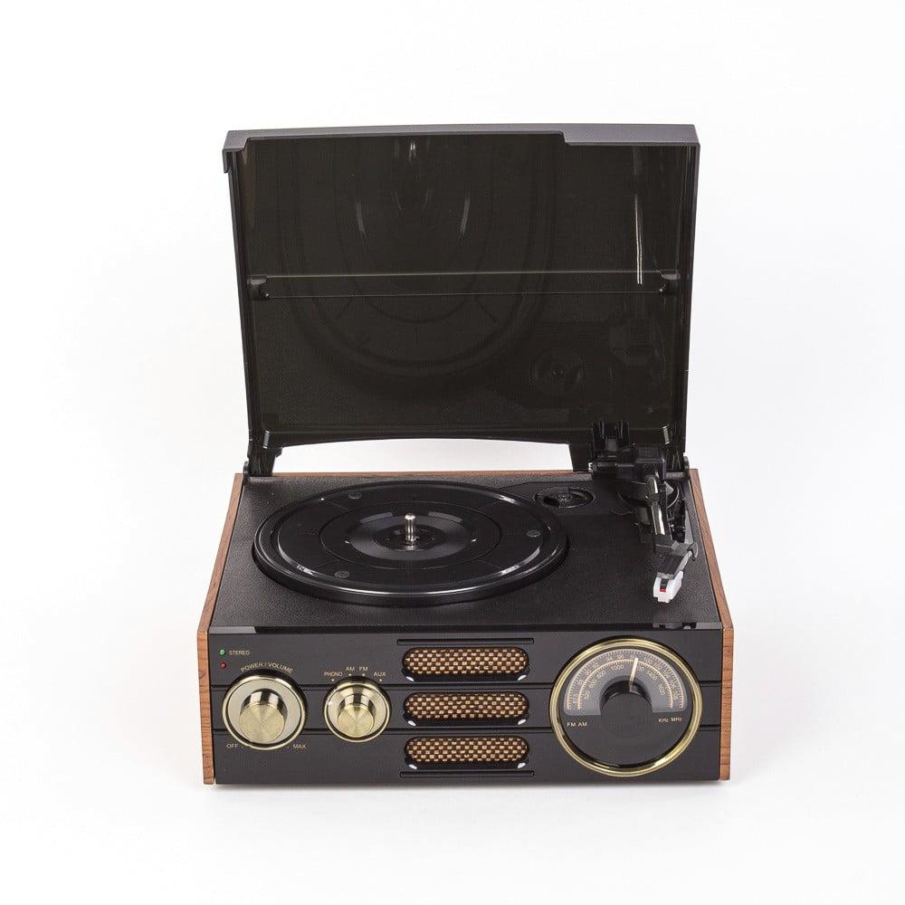 Čierny gramofón s rádiom GPO Empire Black TG-192