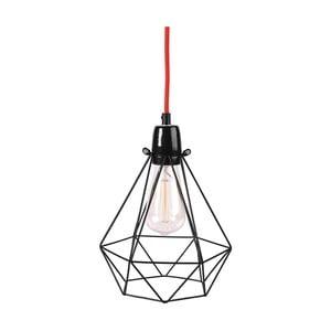Svetlo s čiernym tienidlom a červeným káblom Filament Style Diamond #1