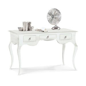 Biely drevený pracovný stôl s 3 zásuvkami Castagnetti Mare