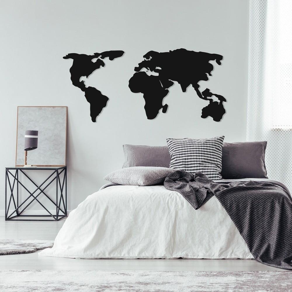 Čierna kovová nástenná dekorácia World Map Two, 121 × 56 cm