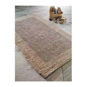 Tmavobéžová bavlnená predložka do kúpeľne Confetti Natura Heavy, 70×120cm