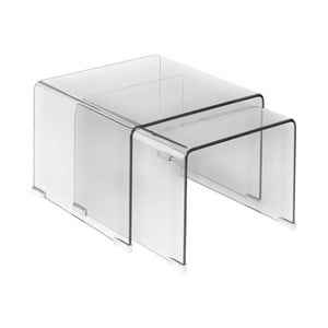 Sada 2 sklenených odkladacích stolíkov Esidra Jaime