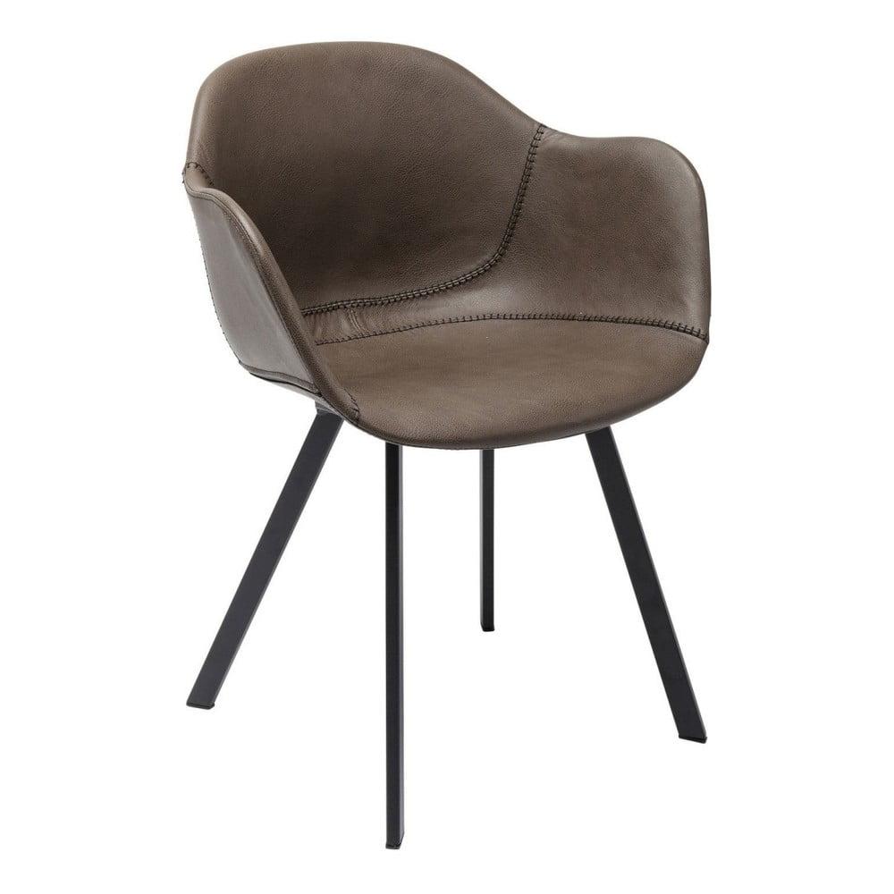 Hnedá stolička s nohami z kovu Kare Design