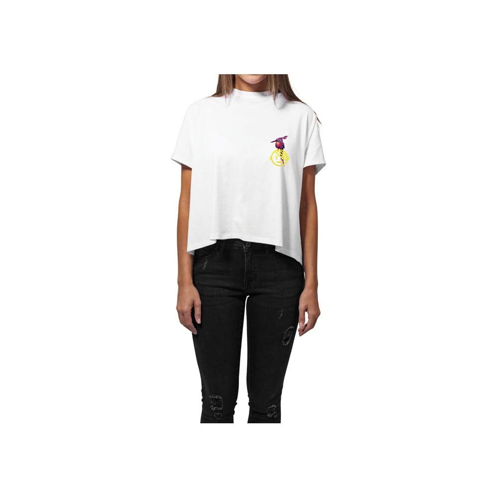 Dámske biele tričko z organickej bavlny s motívom Dobrá energia od Dana Bártu & Vladimira 518 pre KlokArt, veľ. S