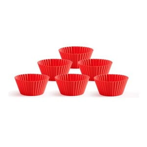 Sada 6 silikónových foriem na muffiny Lékué, červená
