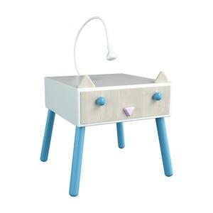 Nočný stolík s povrchom z dyhy, modrédetaily, Dotties Mačička