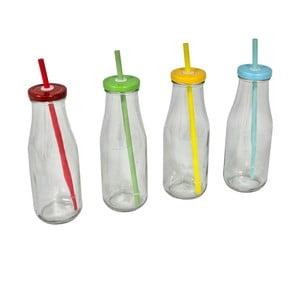 Sada 4 fľaší s viečkami a slamkami Retro