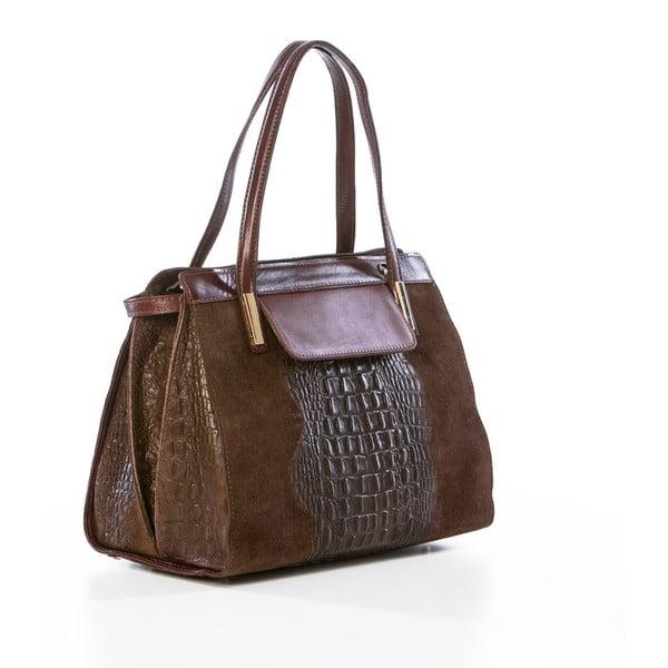Kožená kabelka Croco Brown