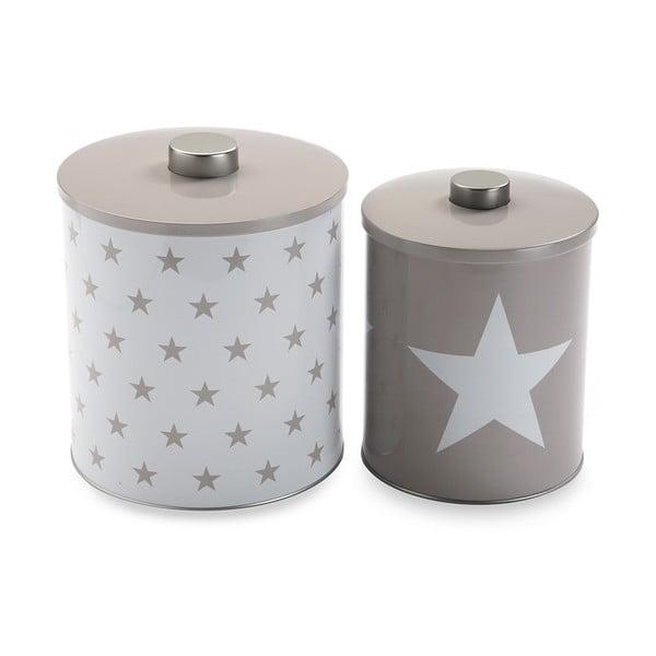 Sada 2 kovových dóz Versa White&Grey Stars