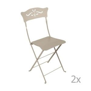 Sada 2 béžových skladacích záhradných stoličiek Fermob Bagatelle