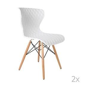 Sada 2 bielych stoličiek s bukovou podnožou White Label Crow