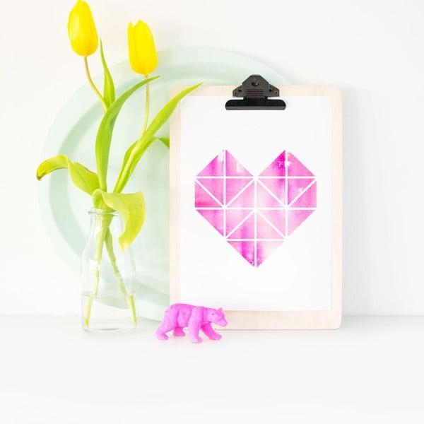 Plagát Origami Herz Pink, A3