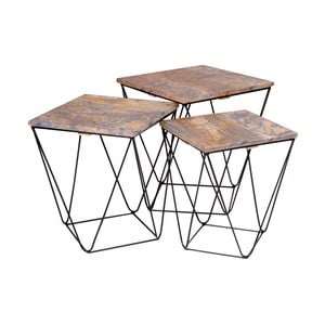 Sada 3 odkladacích stolíkov se šedou doskou z mangového dreva House Nordic Ranchi